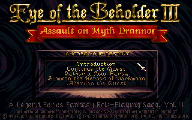 Pantallazo de Advanced Dungeons & Dragons: Eye of the Beholder III -- Assault on Myth Drannor para PC