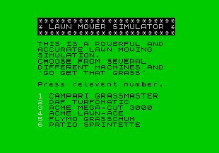 Pantallazo de Advanced Lawnmower Simulator para Spectrum