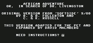 Pantallazo de African Adventure - In Search of Dr. Livingston para Commodore 64