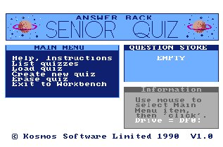 Pantallazo de Answer Back Senior Quiz para Amiga
