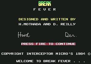 Pantallazo de Break Fever para Commodore 64