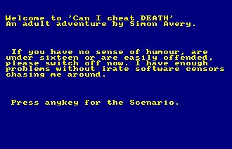 Pantallazo de Can I Cheat Death para Amstrad CPC
