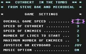 Pantallazo de Cuthbert in the Tombs para Commodore 64