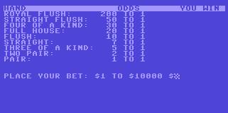 Pantallazo de Draw Poker para Commodore 64