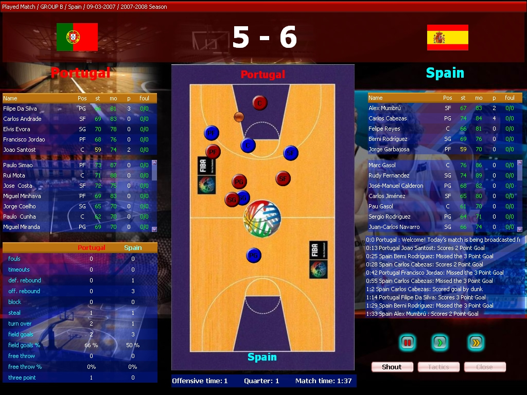 Pantallazo de FIBA Basketball Manager 2008 para PC