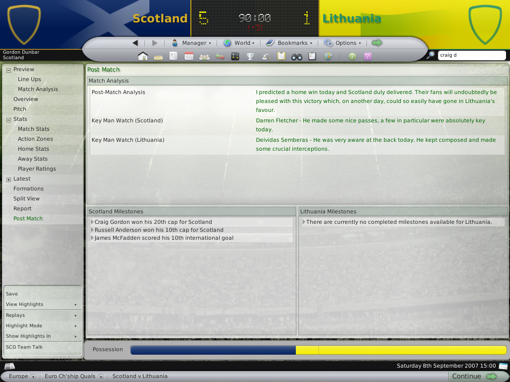 Pantallazo de Football Manager 2008 para PC