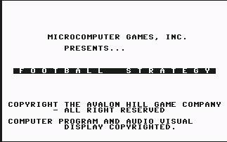 Pantallazo de Football Strategy para Commodore 64