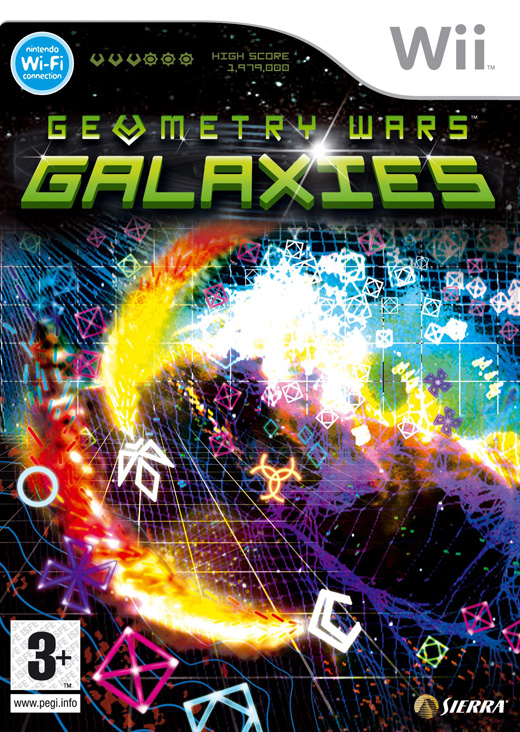 Caratula de Geometry Wars: Galaxies para Wii