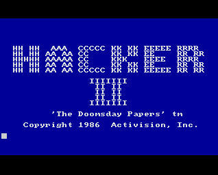 Pantallazo de Hacker II: The Doomsday Papers para Amiga