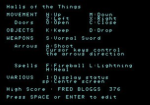 Pantallazo de Halls Of The Things para Amstrad CPC