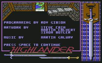 Pantallazo de Highlander para Commodore 64