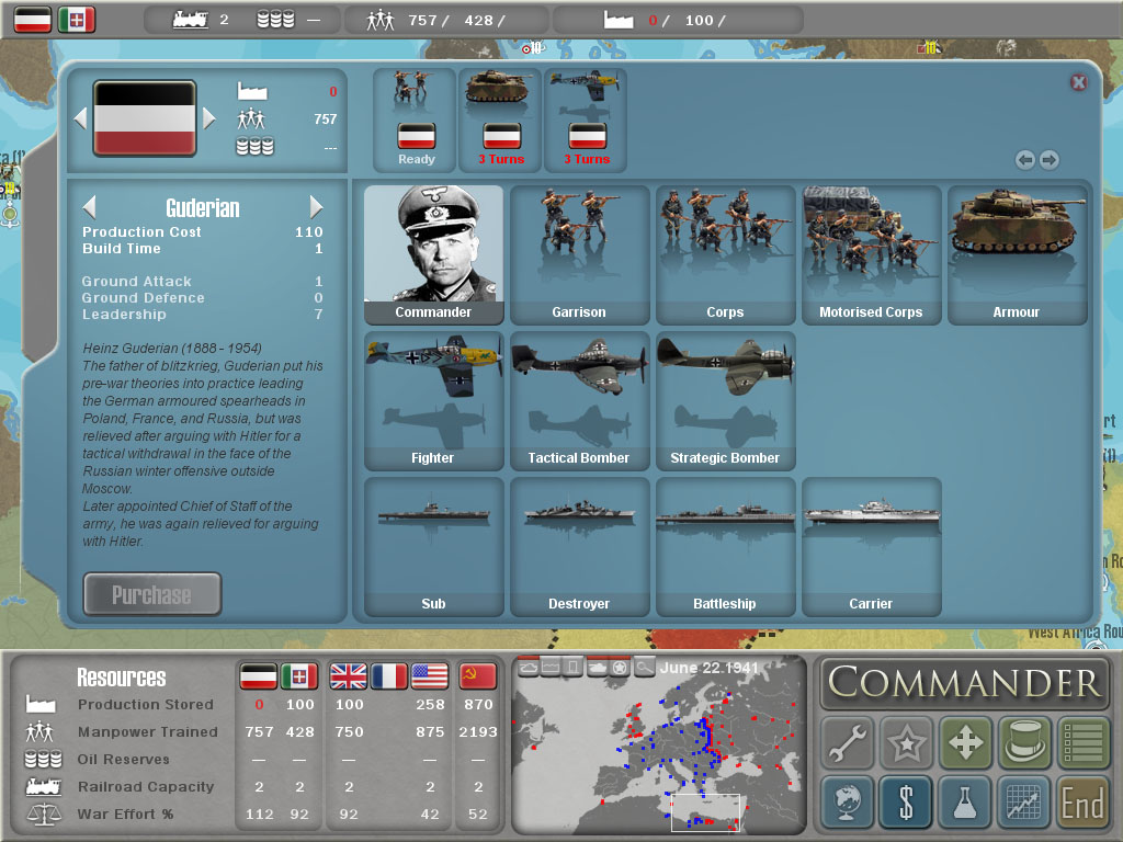 Pantallazo de MILITARY HISTORY Commander Europe at War para PC
