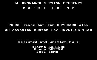 Pantallazo de Match Point para Amstrad CPC