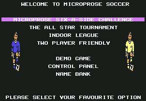 Pantallazo de Microprose Six-A-Side Challenge para Commodore 64