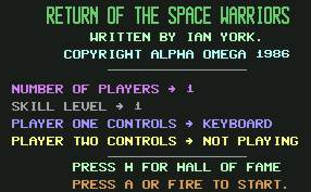 Pantallazo de Return of the Space Warriors para Commodore 64
