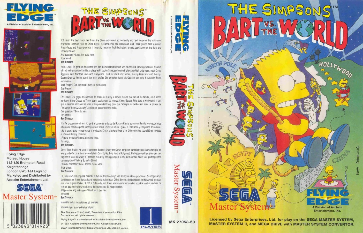 Caratula de Simpsons: Bart vs the World, The para Sega Master System