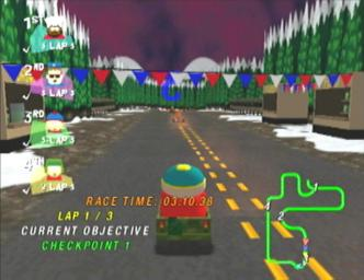 Pantallazo de South Park Rally para Dreamcast