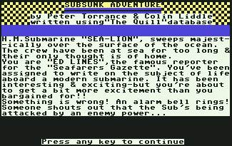 Pantallazo de Subsunk Adventure para Commodore 64