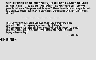 Pantallazo de Tark Simmons: Priestess Of The First Church para Atari ST